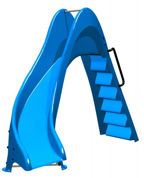 Pool water slide: 1m50 with curve to the left